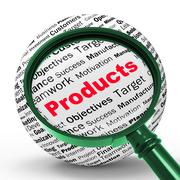 Products magnifier definition shows shopping or retail purchases Stock Illustration