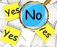 Stock Illustration of yes no post-it papers show agree or disagree