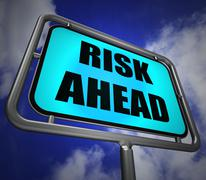 Risk ahead signpost shows dangerous unstable and insecure warning Stock Illustration