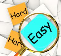 Easy hard post-it papers mean ease or difficulty Stock Illustration