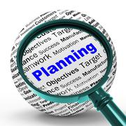 Stock Illustration of planning magnifier definition means mission planning or objectives