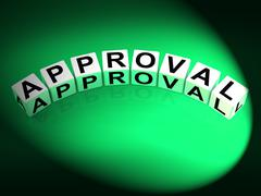 Approval dice show validation acceptance and approved Stock Illustration