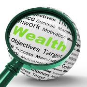 Stock Illustration of wealth magnifier definition shows fortune or accounting treasure