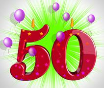 number fifty party show fiftieth birthday candles or celebration - stock illustration