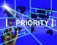 Priority screen shows superiority or preference in importance worldwide Stock Illustration