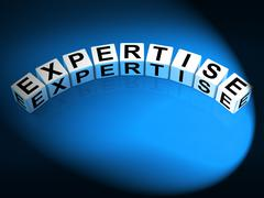 Expertise dice mean expert skills training and proficiency Stock Illustration