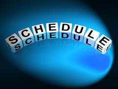 Schedule dice mean program itinerary and organize agenda Stock Illustration