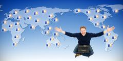 man receiving likes from around the world - stock illustration