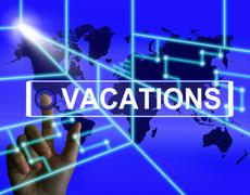 Vacations screen means internet planning or worldwide vacation travel Stock Illustration