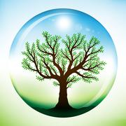 Summer tree with green leaves, growing inside a glass sphere Stock Illustration