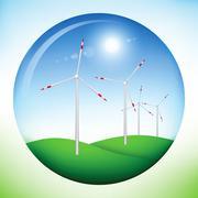 Windmill power generators inside sphere Stock Illustration