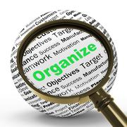 Organize magnifier definition shows structured files or management Stock Illustration