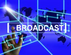 broadcast screen shows international broadcasting and transmission of news - stock illustration