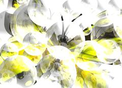 Abstract background with yellow butterfly and bubbles Piirros
