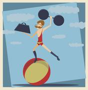 vintage circus strong man - stock illustration