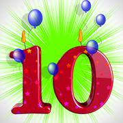 Number ten party mean numeral candles or celebration candles Stock Illustration