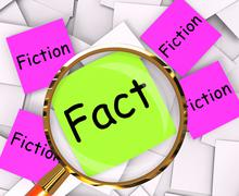 fact fiction post-it papers mean truth or myth - stock illustration