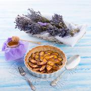 Nectarine tarte with lavender and honey Stock Photos