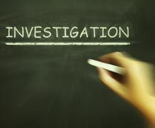 Investigation chalk means inspect analyse and find out Stock Illustration