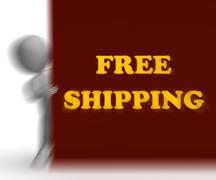 Free shipping placard means shipping charges included Stock Illustration
