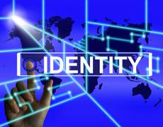 Identity screen represents worldwide or international identification or brand Stock Illustration