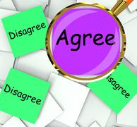 Stock Illustration of agree disagree post-it papers mean for or against