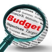 budget magnifier definition shows financial management or business accountant - stock illustration