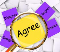 agree disagree post-it papers mean opinion agreement or disagreement - stock illustration