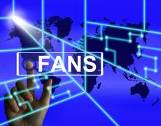 Fans screen shows worldwide or internet followers or admirers Stock Illustration