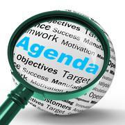 agenda magnifier definition means schedule planner or reminder - stock illustration