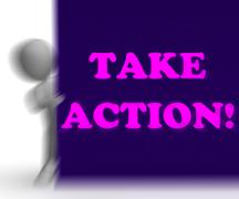 take action placard shows inspirational encouragement - stock illustration