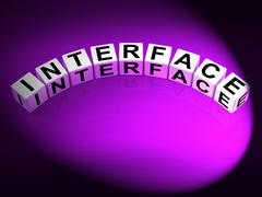 interface dice represent integrating networking and interfacing - stock illustration