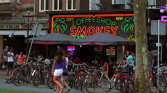 Big coffeeshop at Rembrandt Square Amsterdam - stock footage