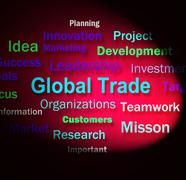 Global trade words means planning for international commerce Stock Illustration