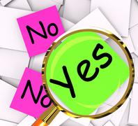 Yes no post-it papers mean answers affirmative or negative Stock Illustration