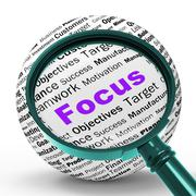 Focus magnifier definition shows concentration and targeting Stock Illustration