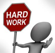 hard work red stop sign shows stopping difficult working labour - stock illustration