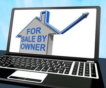 for sale by owner house laptop means no representation by agent - stock illustration