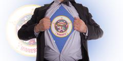 businessman with minnesota flag t-shirt - stock illustration