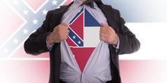 businessman with mississippi flag t-shirt - stock illustration