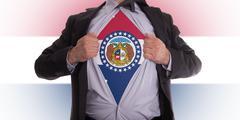 businessman with missouri flag t-shirt - stock illustration