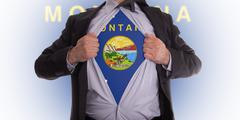 businessan with montana flag t-shirt - stock illustration