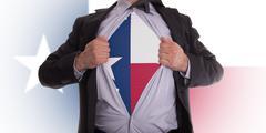 Businessman with texas flag t-shirt Stock Illustration