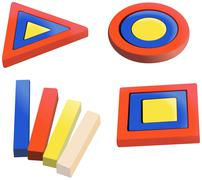 colored wooden puzzles for small kids - stock illustration