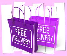 Stock Illustration of free delivery sign on shopping bags show no charge to deliver