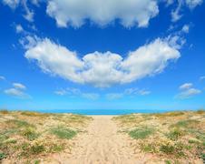 Symmetrical beach Stock Photos