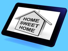 Home sweet home house tablet means welcoming and comfortable Stock Illustration