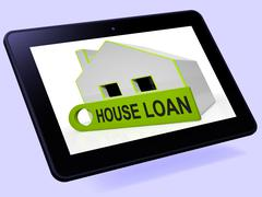House loan home tablet shows credit borrowing and mortgage Piirros