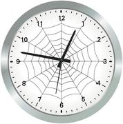 metal analogue clock with spider web - stock illustration