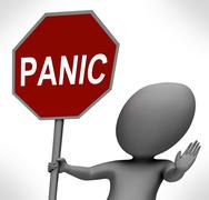 panic red stop sign shows stopping anxiety panicking - stock illustration
